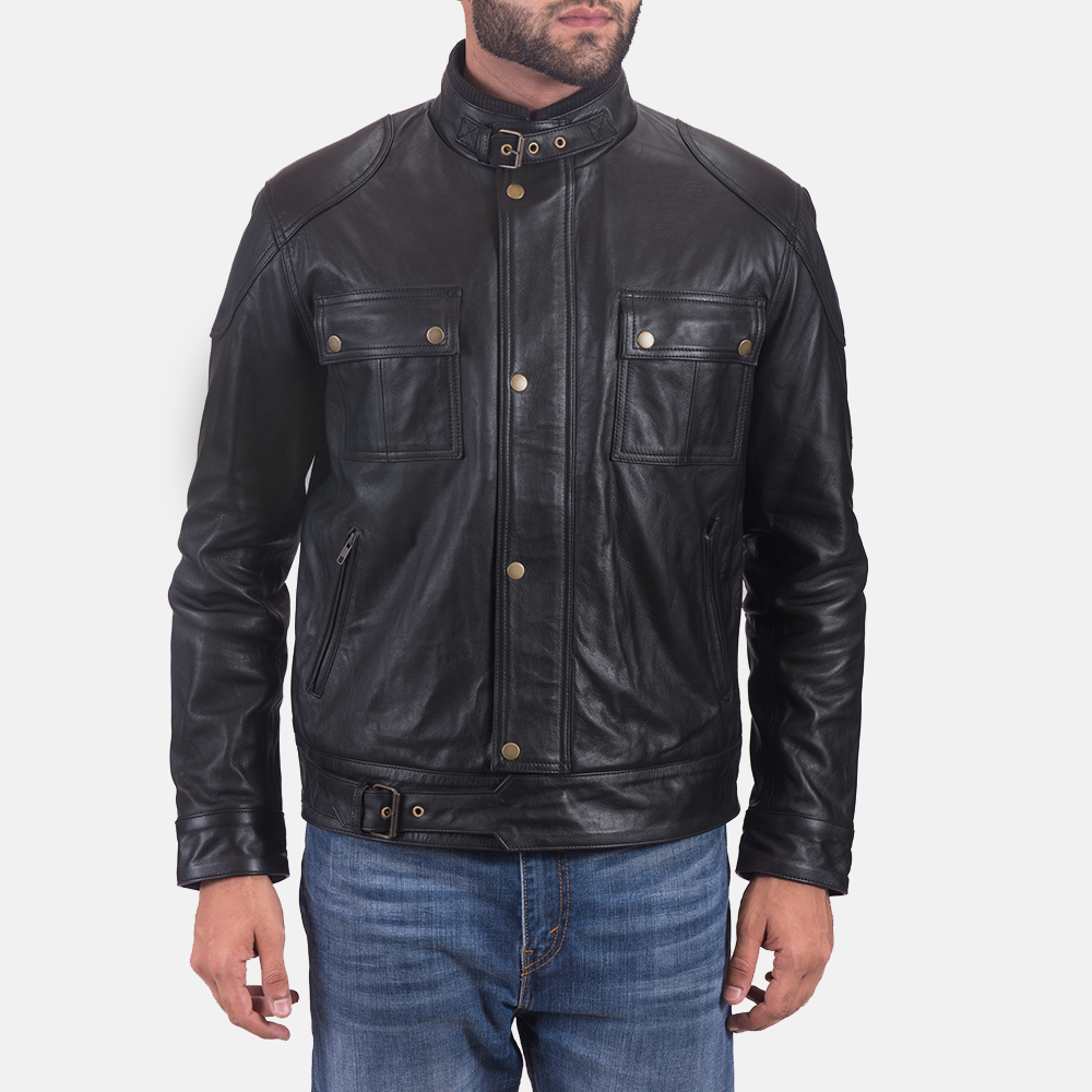 Mens Krypton Black Leather Jacket 1