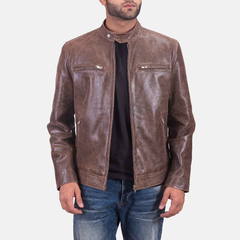 Mens Latte Brown Leather Jacket 1