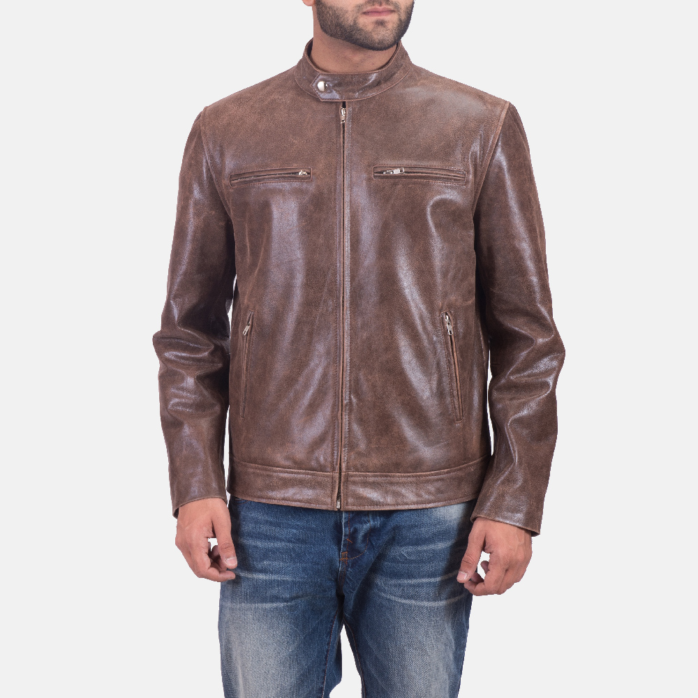 Mens Latte Brown Leather Jacket 3