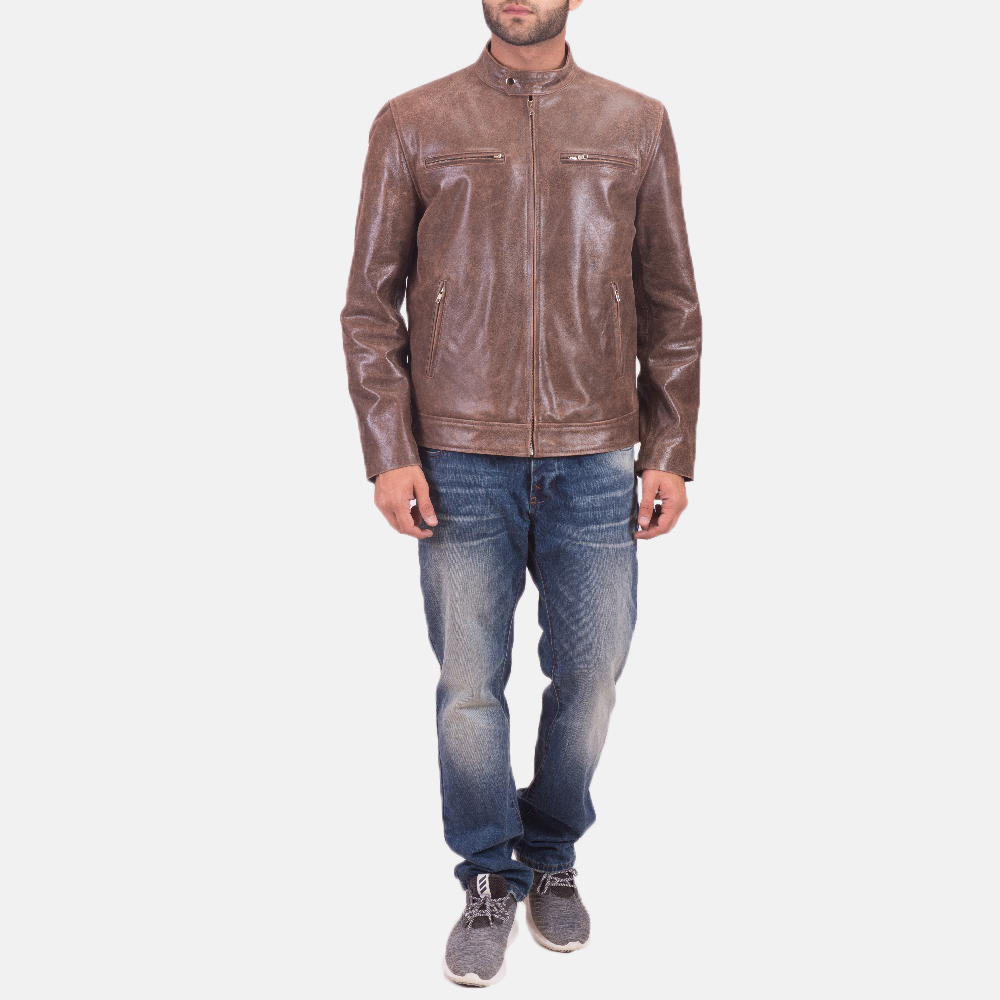 Mens Latte Brown Leather Jacket 2