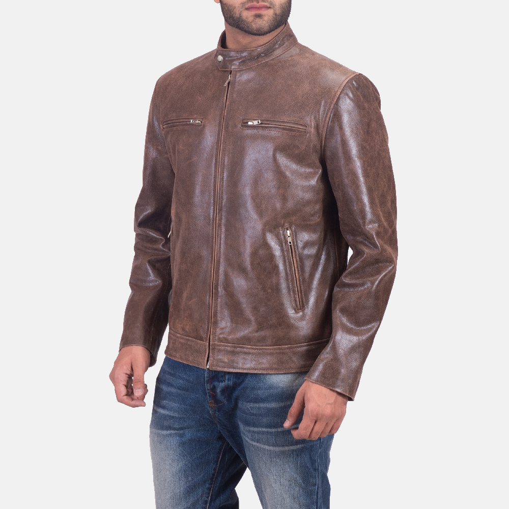 Mens Latte Brown Leather Jacket 4