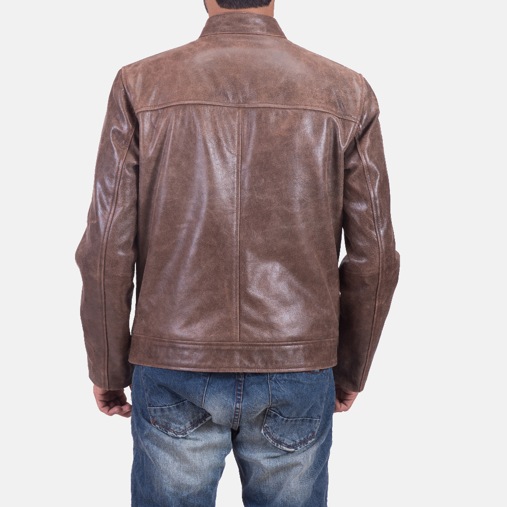 Mens Latte Brown Leather Jacket 6