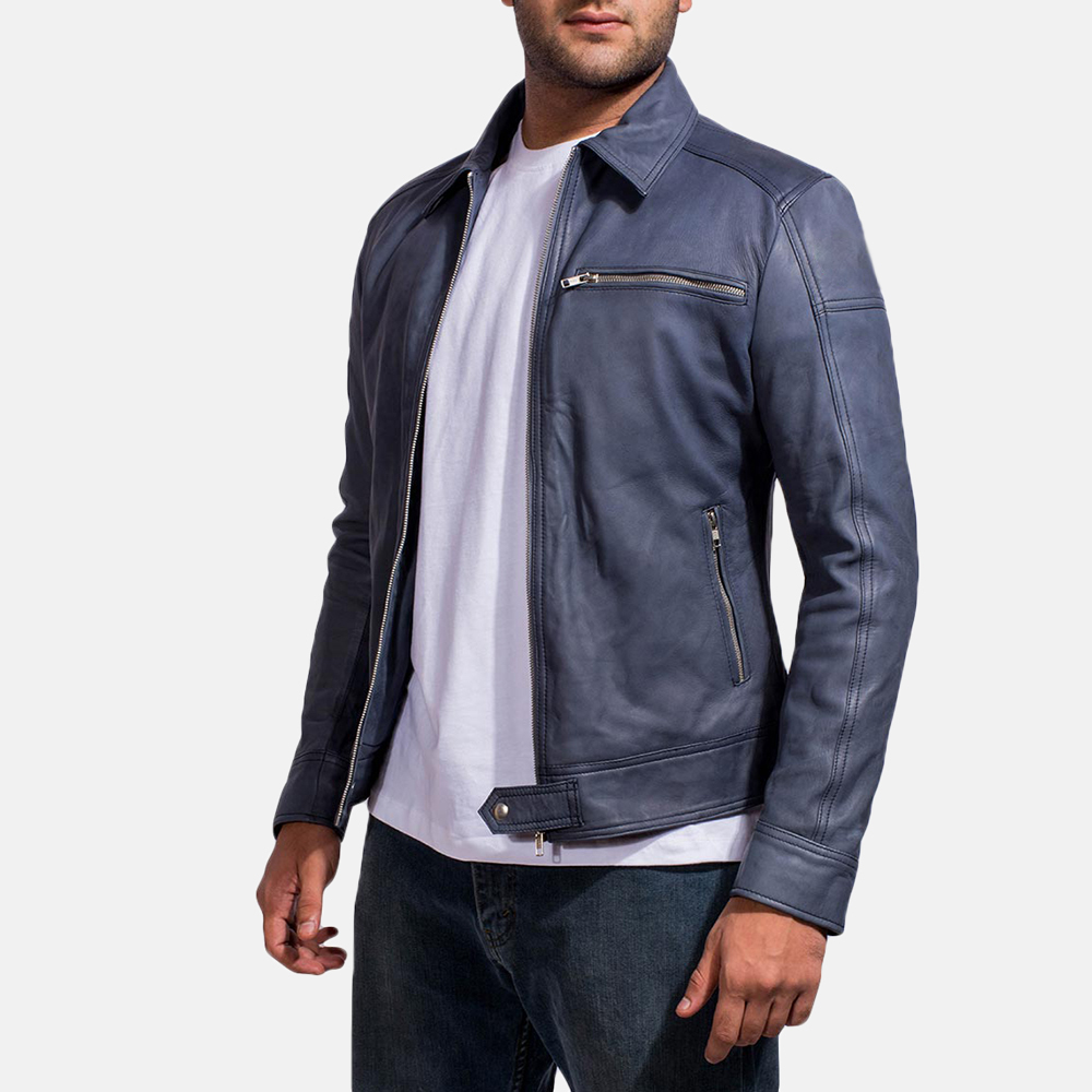 Mens Lavendard Blue Leather Biker Jacket 3