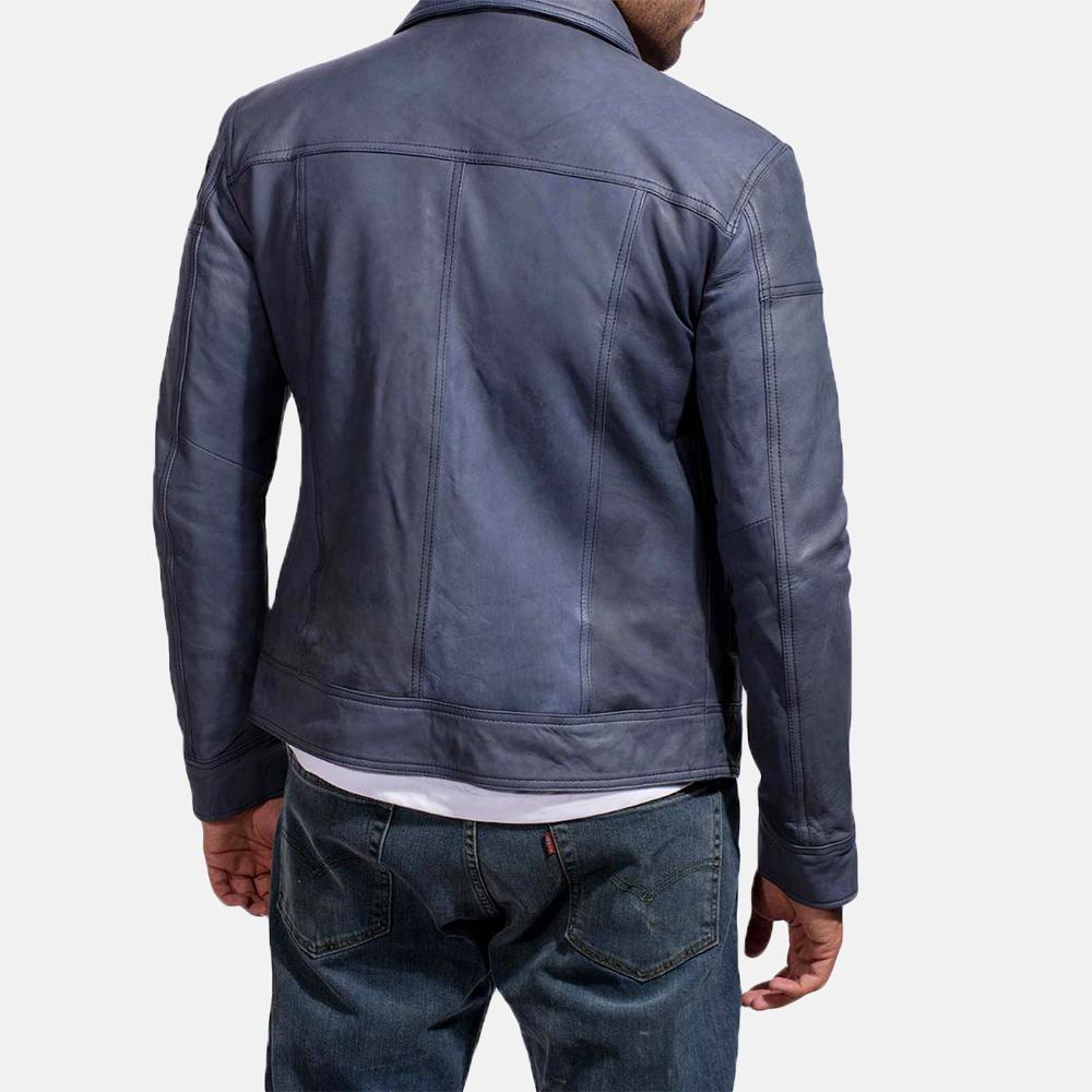 Mens Lavendard Blue Leather Biker Jacket 5