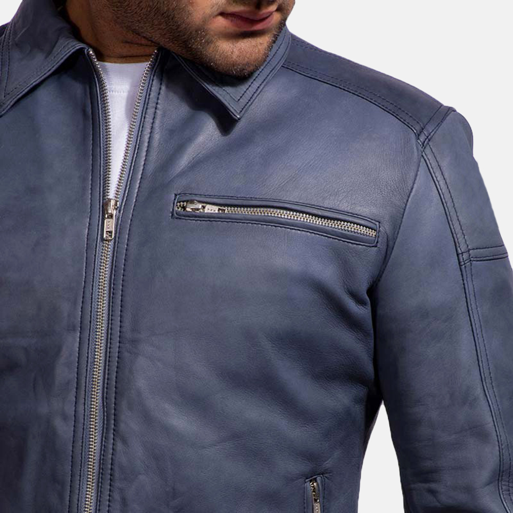 Mens Lavendard Blue Leather Biker Jacket 6