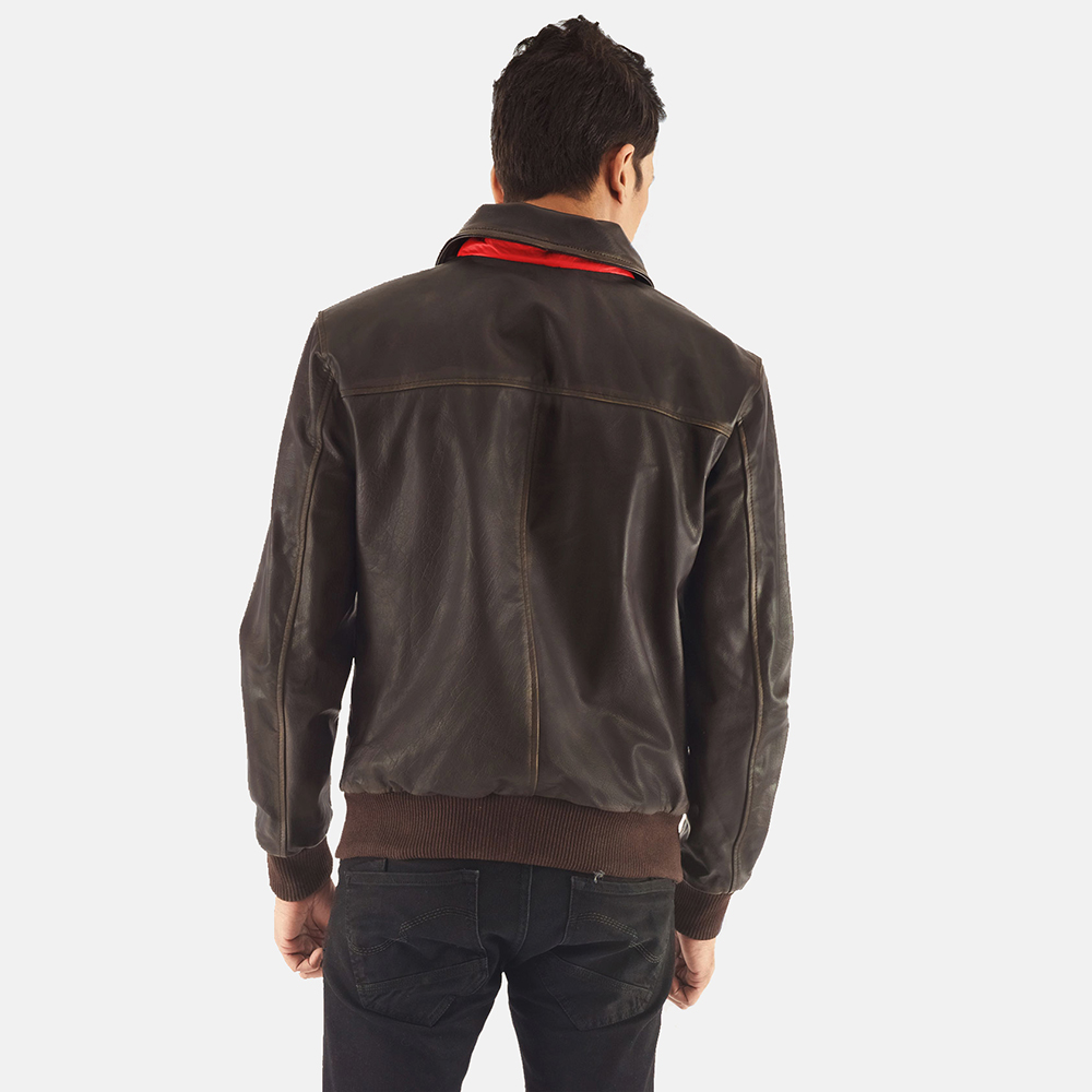 Mens Aaron Brown Leather Bomber Jacket 5