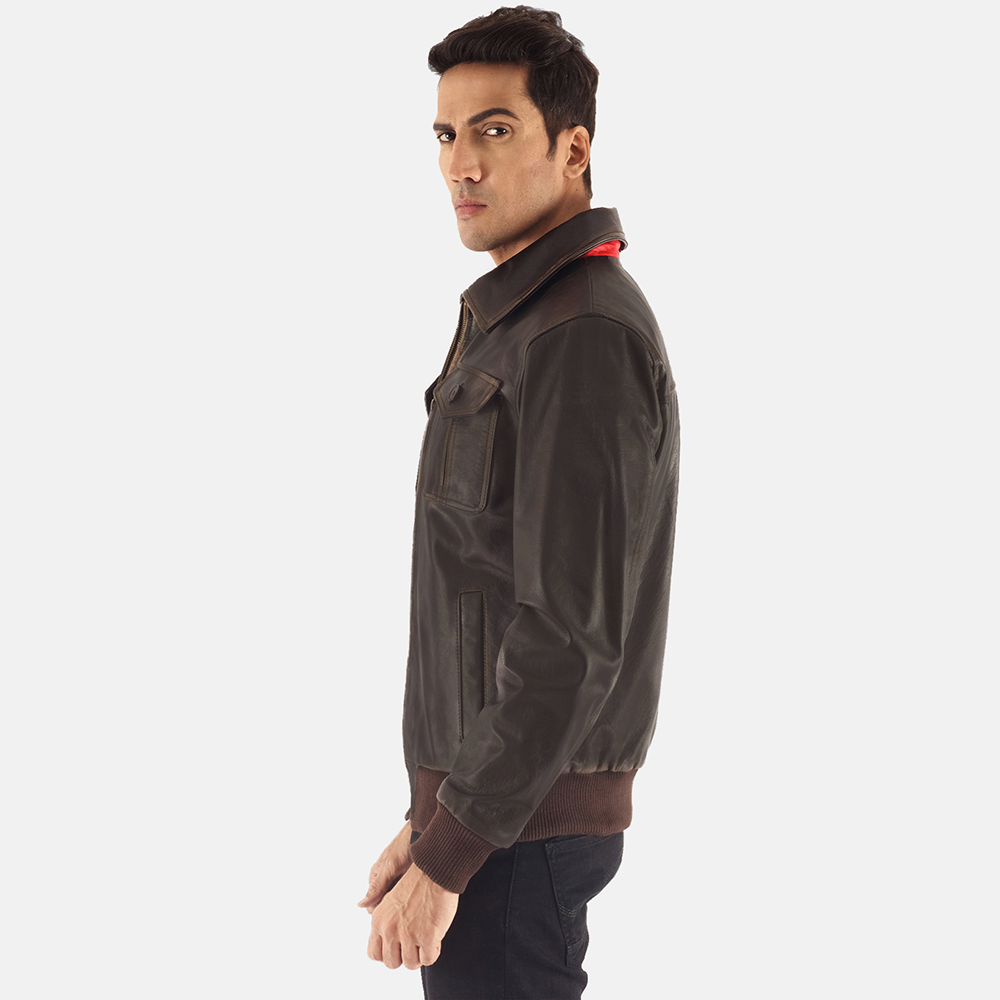 Mens Aaron Brown Leather Bomber Jacket 3