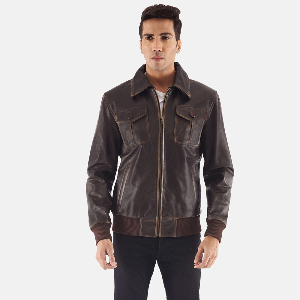 Mens Aaron Brown Leather Bomber Jacket 6