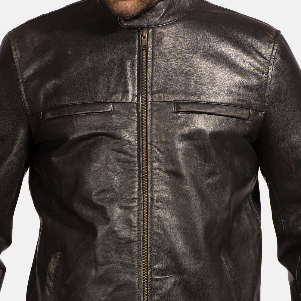 Mens Liberty Black Leather Biker Jacket 2