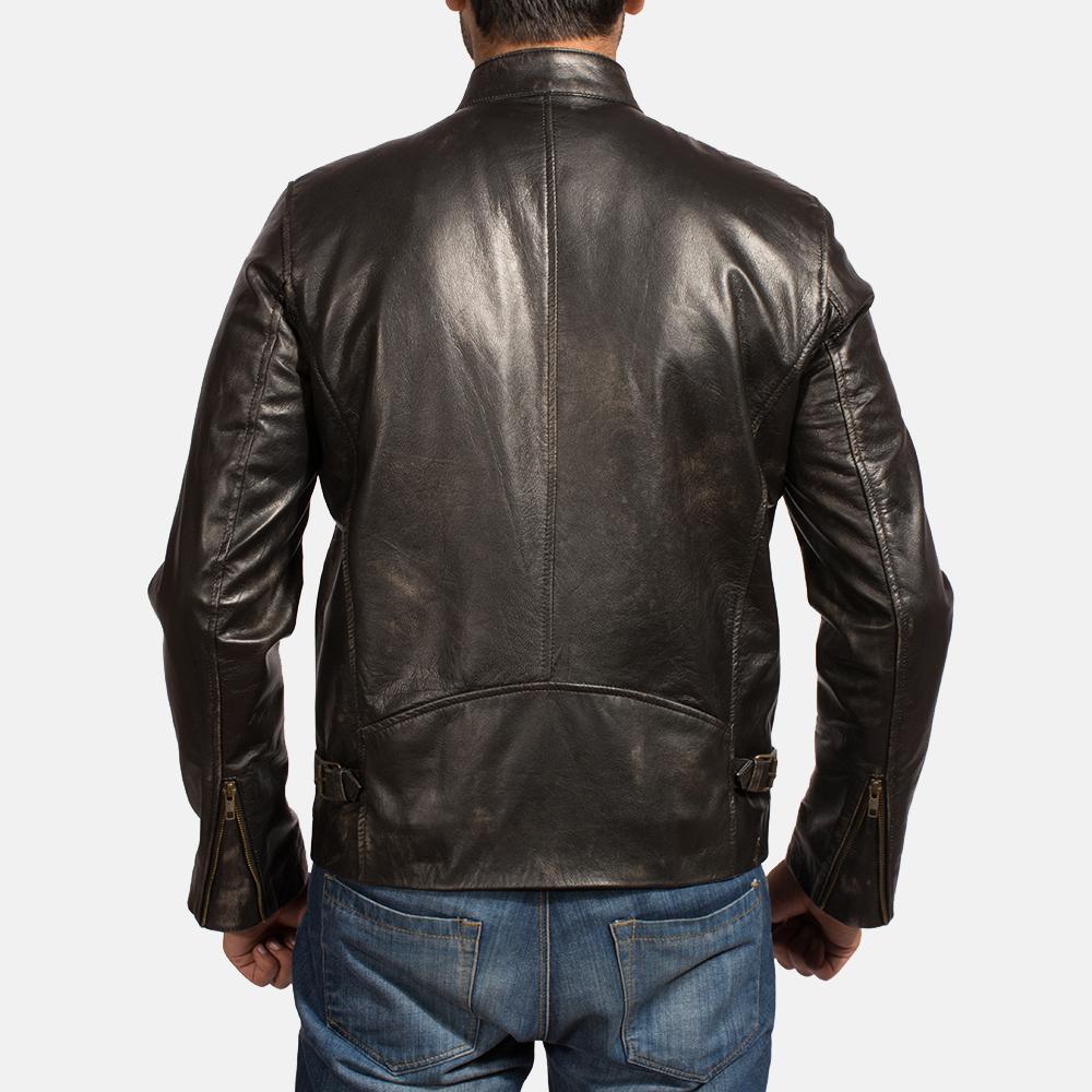 Mens Liberty Black Leather Biker Jacket 4