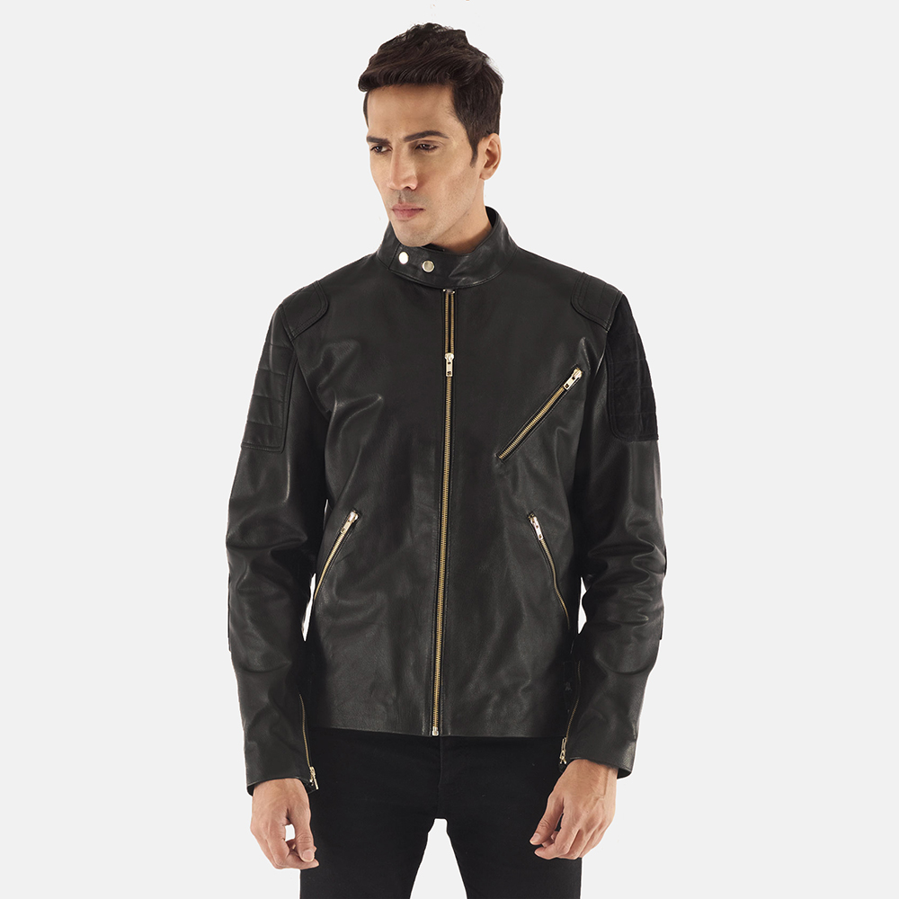 Mens Marlon Black Leather Biker Jacket 1