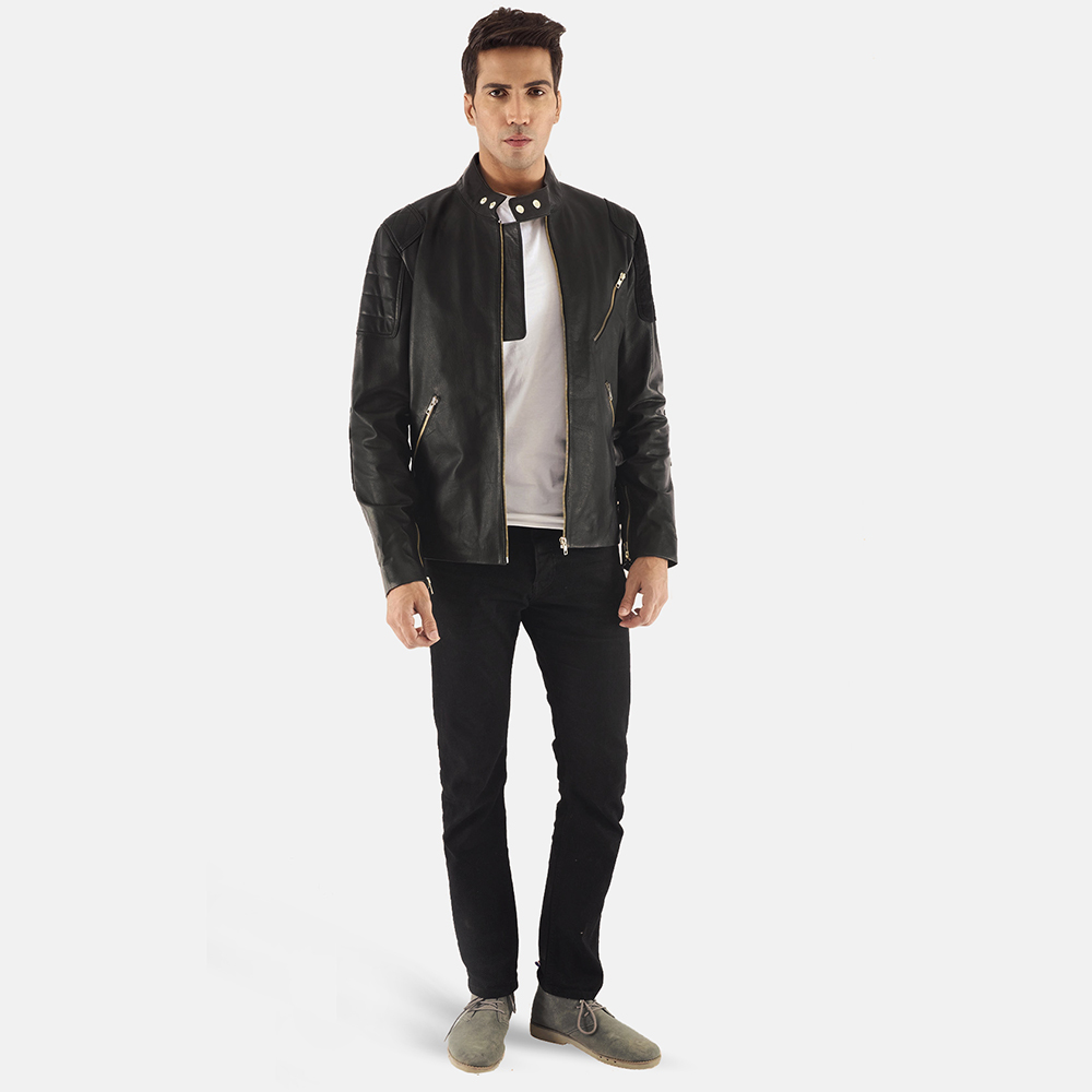 Mens Marlon Black Leather Biker Jacket 2
