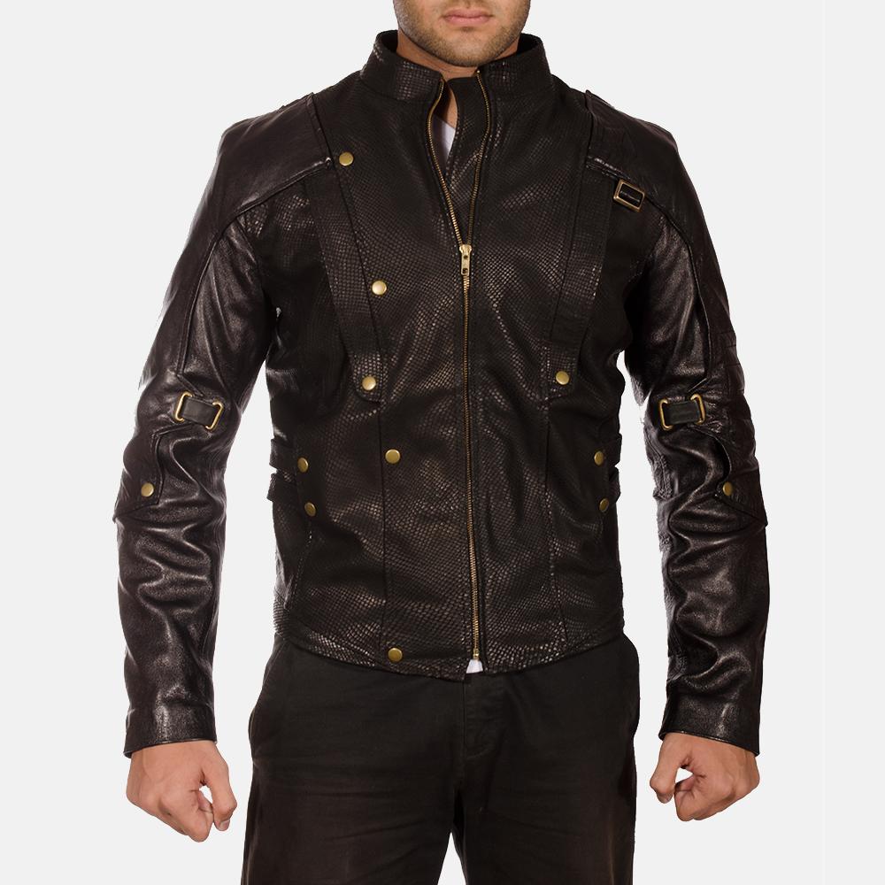 Mens Mars Black Leather Jacket 2