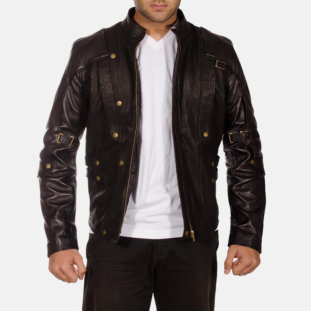 Mens Mars Black Leather Jacket 1