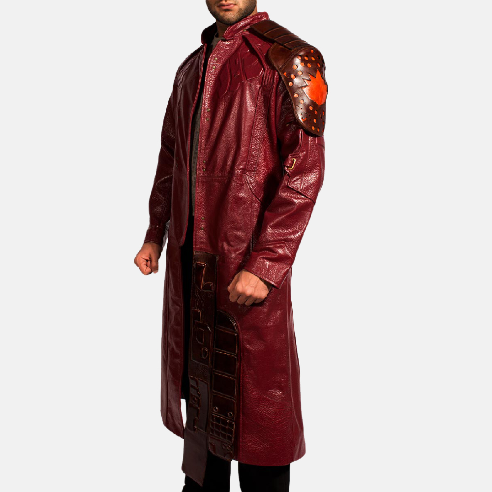 Mens Mars Maroon Leather Coat 4