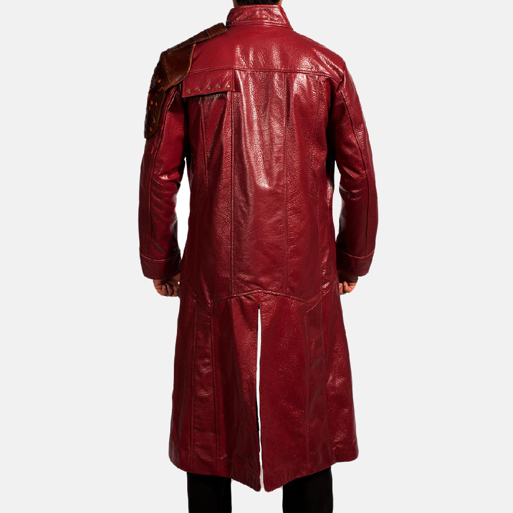 Mens Mars Maroon Leather Coat 6
