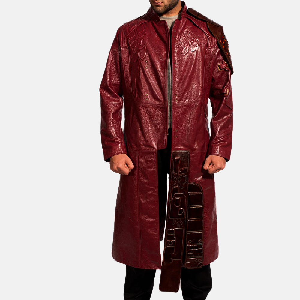Mens Mars Maroon Leather Coat 2