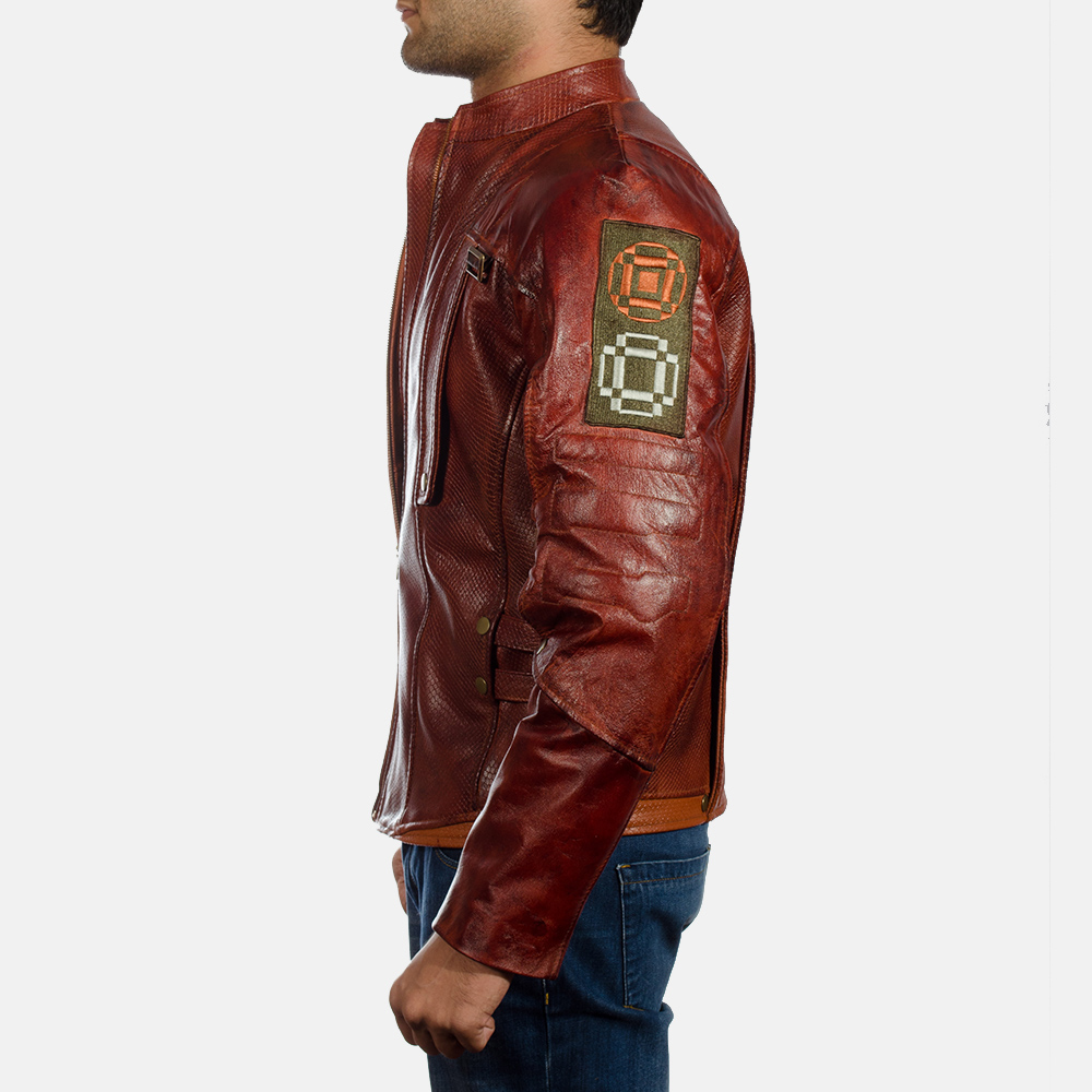 Mens Mars Maroon Leather Jacket 3