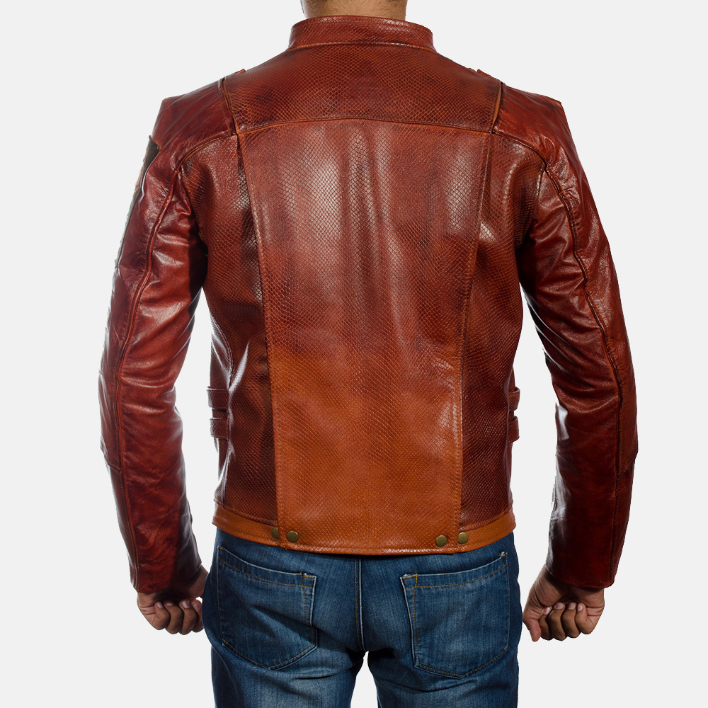 Mens Mars Maroon Leather Jacket 4