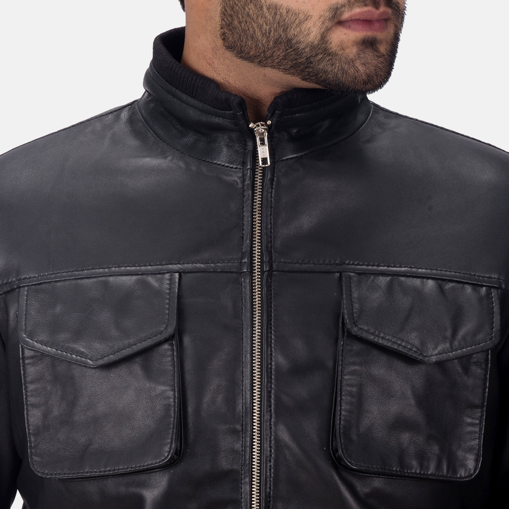 Mens Maurice Black Leather Jacket 4