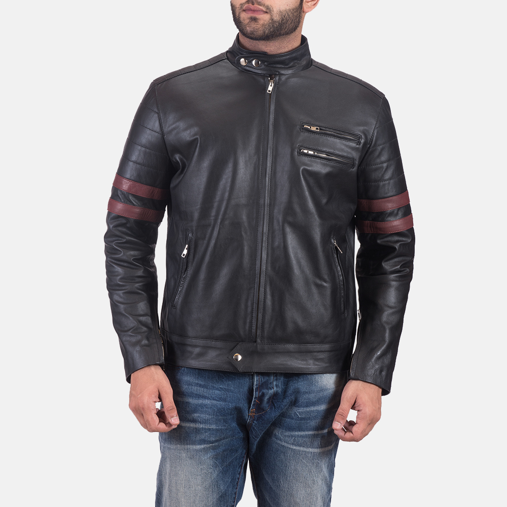Mens Monza Black & Maroon Leather Biker Jacket 1