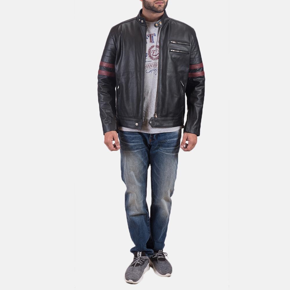 Mens Monza Black & Maroon Leather Biker Jacket 2