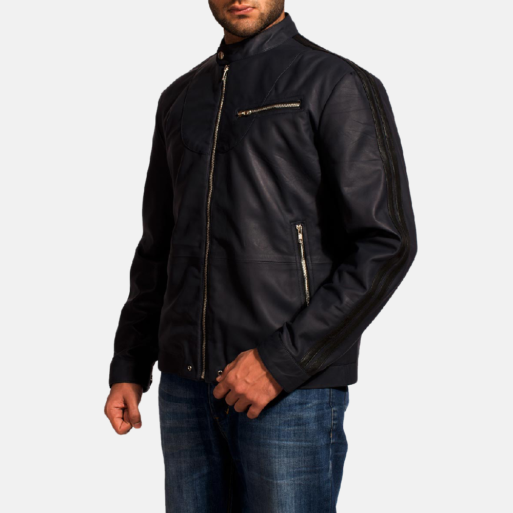 Mens Moonblue Leather Biker Jacket 2