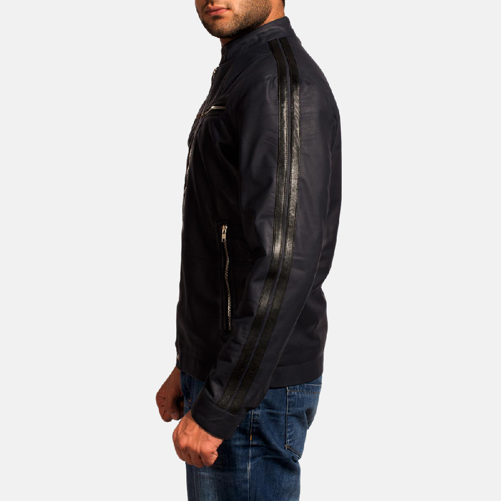 Mens Moonblue Leather Biker Jacket 4