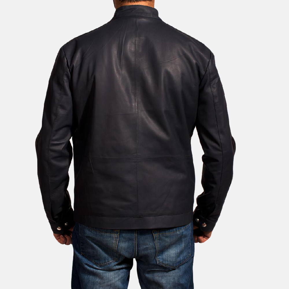 Mens Moonblue Leather Biker Jacket 5