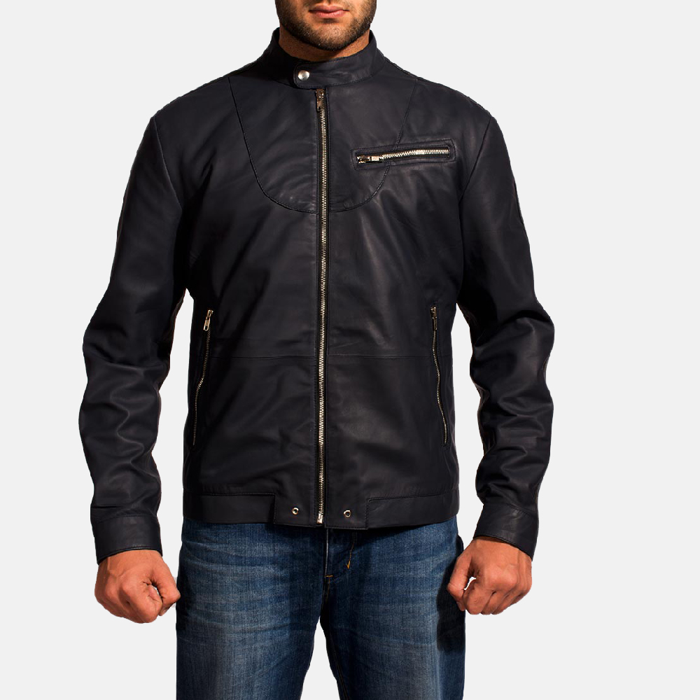 Mens Moonblue Leather Biker Jacket 1