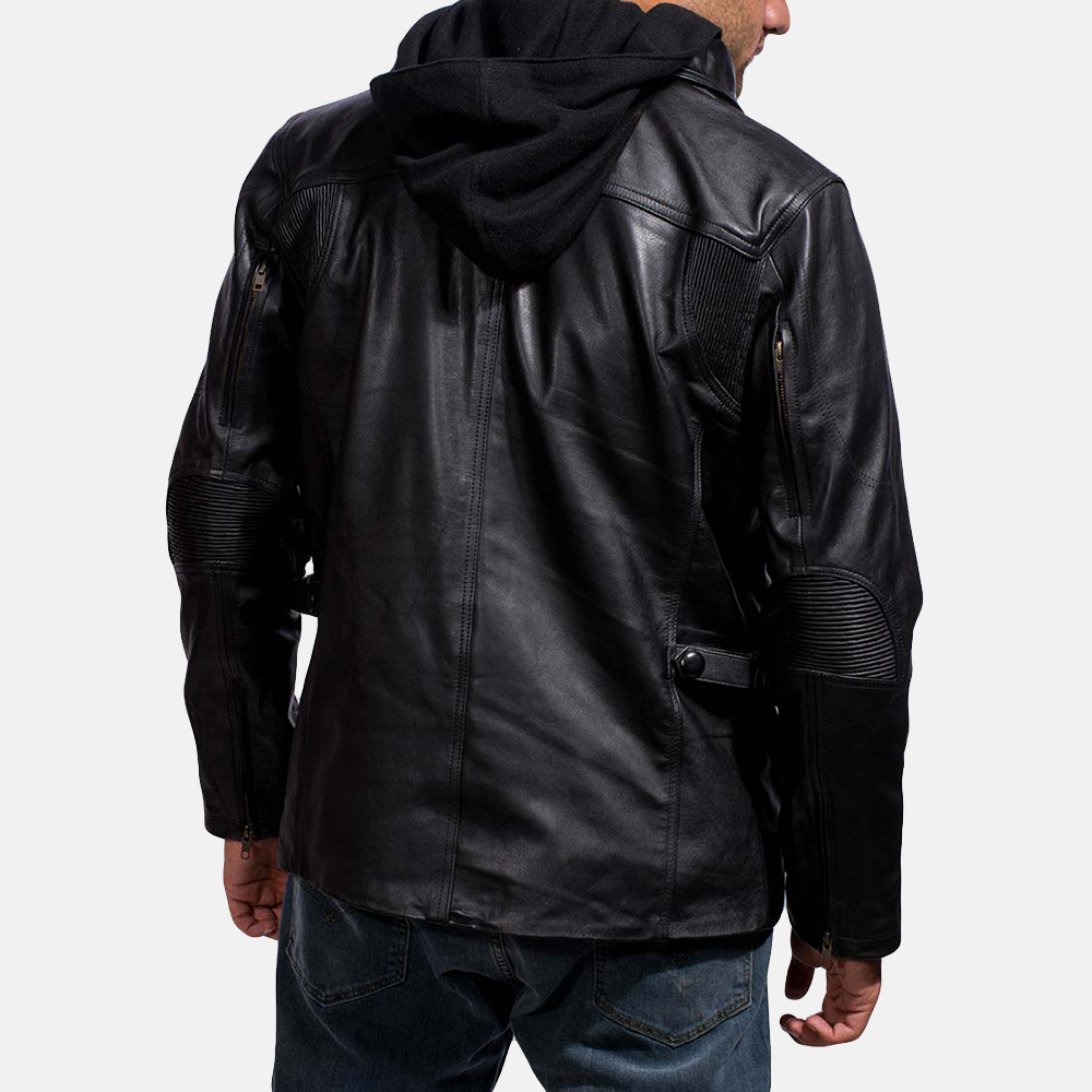 Mens Moulder Hooded Black Leather Jacket 4