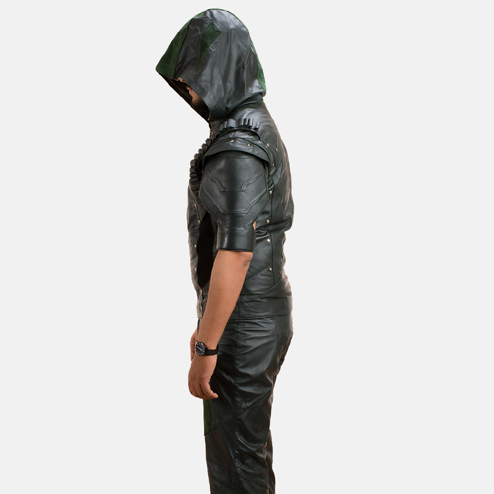Mens New Green Hood Leather Vest 5