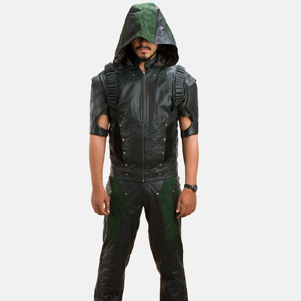 Mens New Green Hood Leather Vest 2