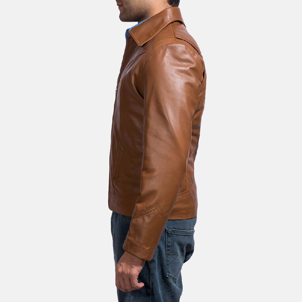Mens Old School Brown Leather Jacket 4