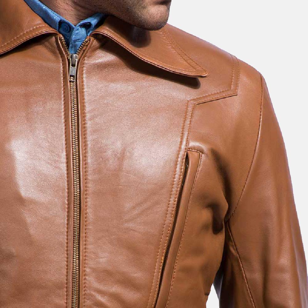 Mens Old School Brown Leather Jacket 3