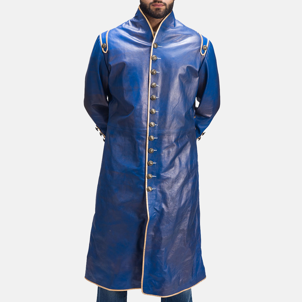 Mens Percy Blue Leather Coat 3