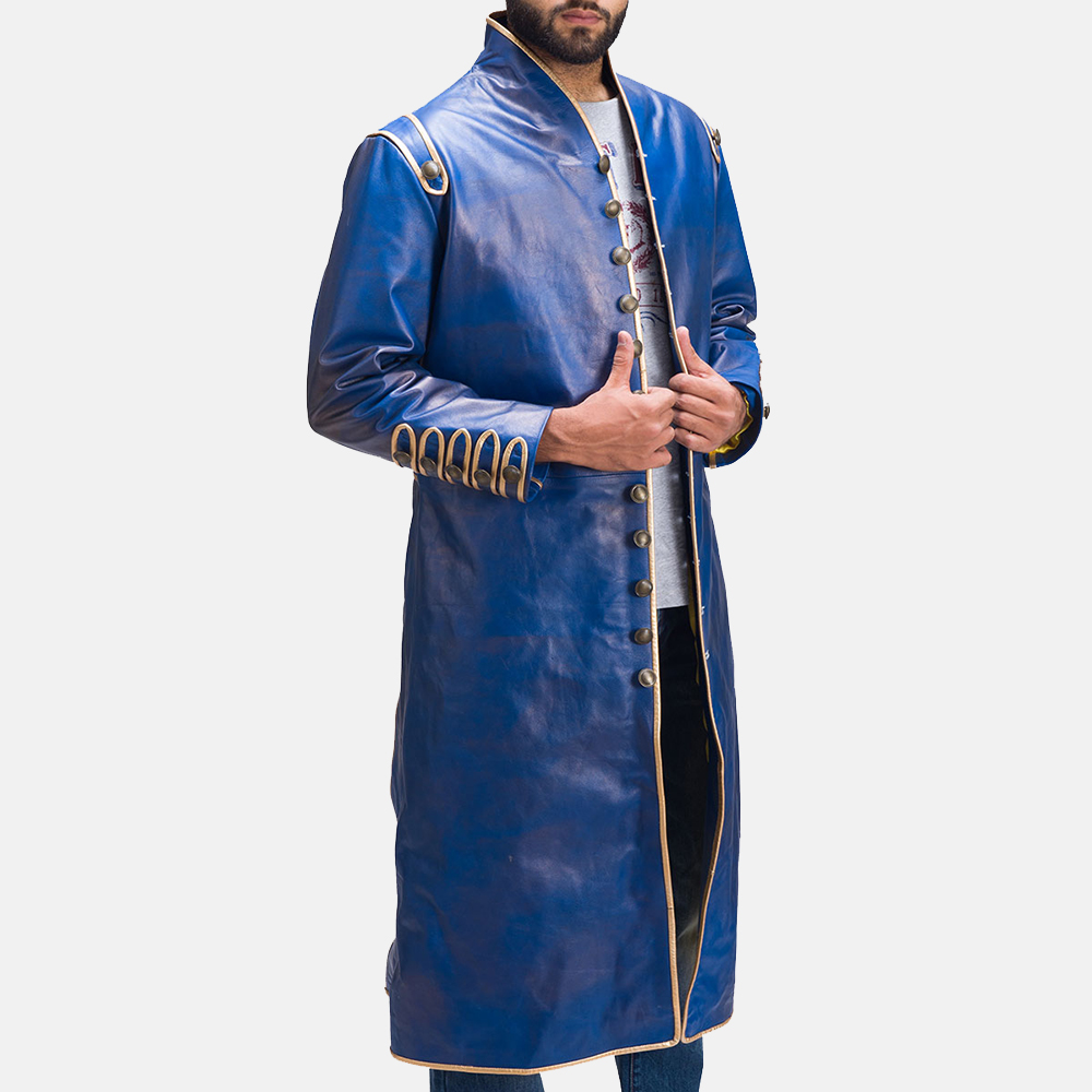 Mens Percy Blue Leather Coat 4
