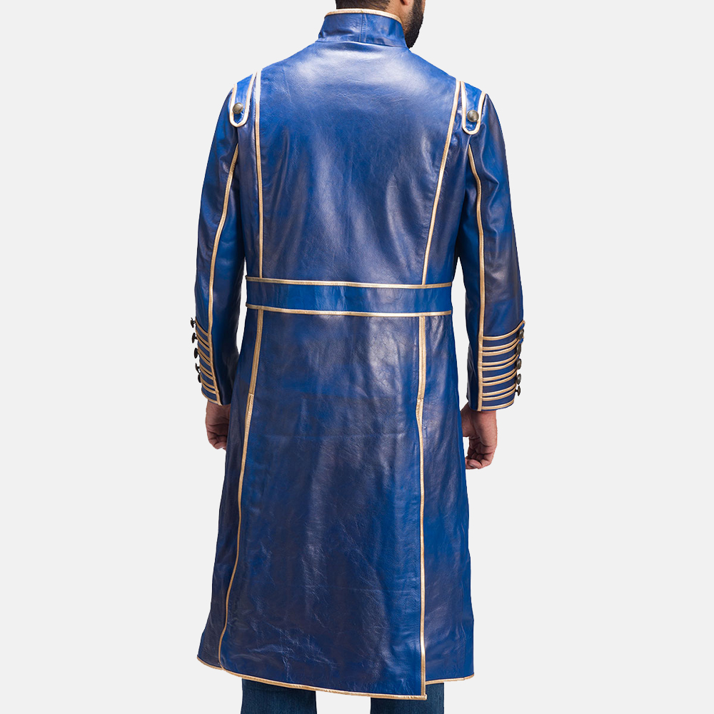 Mens Percy Blue Leather Coat 7