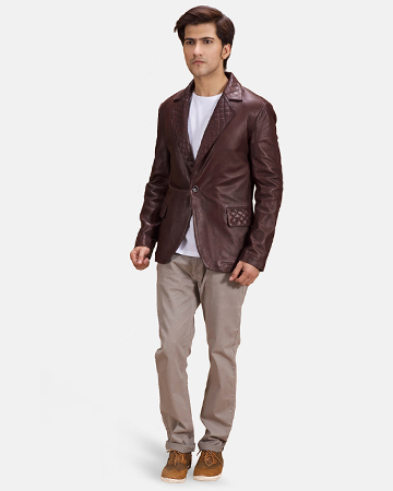 Mens Radaron Quilted Maroon Leather Blazer 1