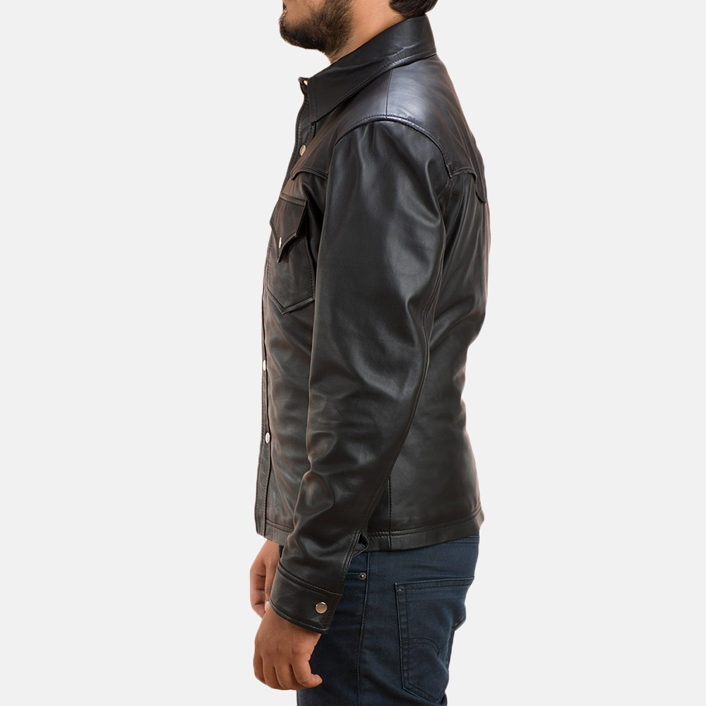Mens Ranchson Black Leather Shirt 4