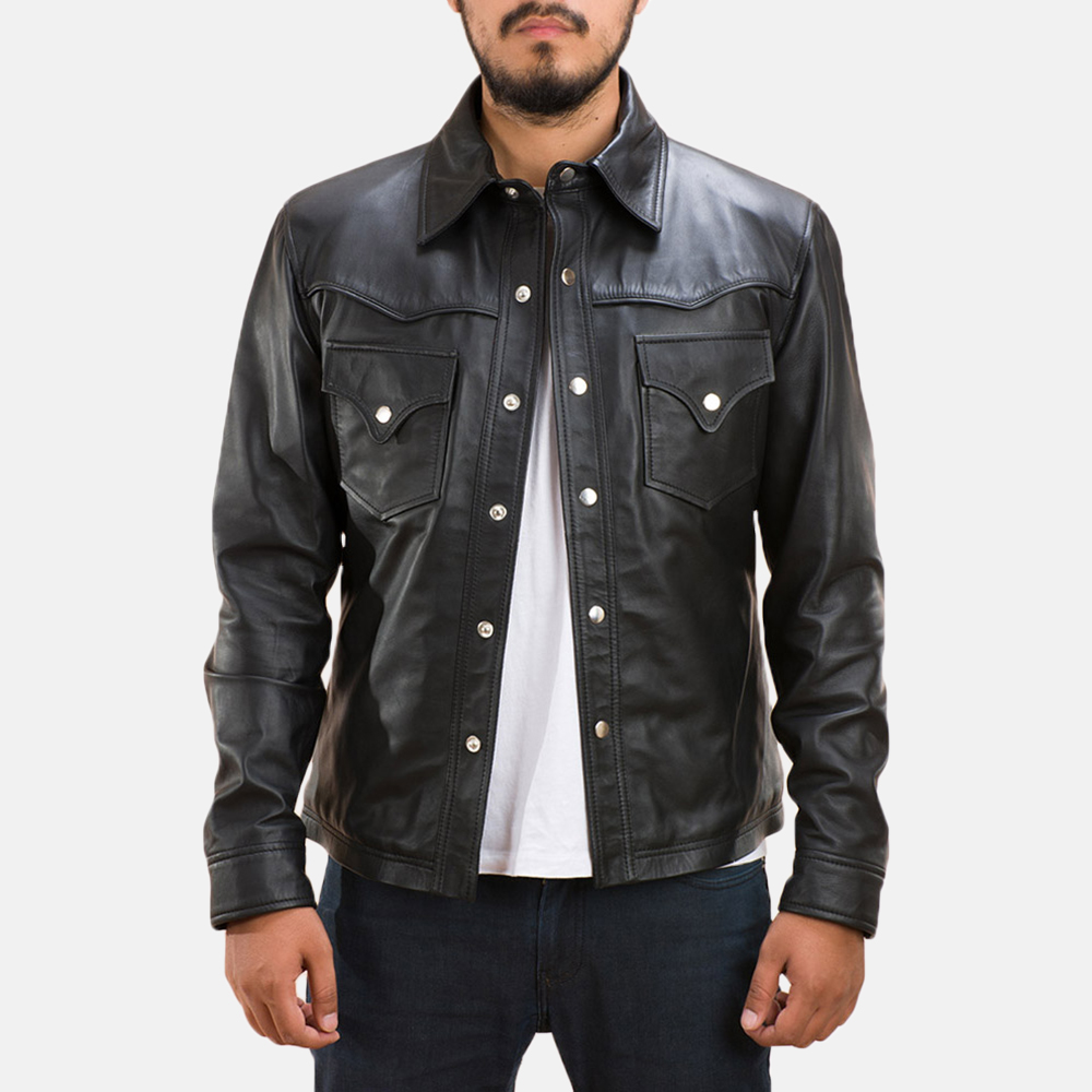 Mens Ranchson Black Leather Shirt