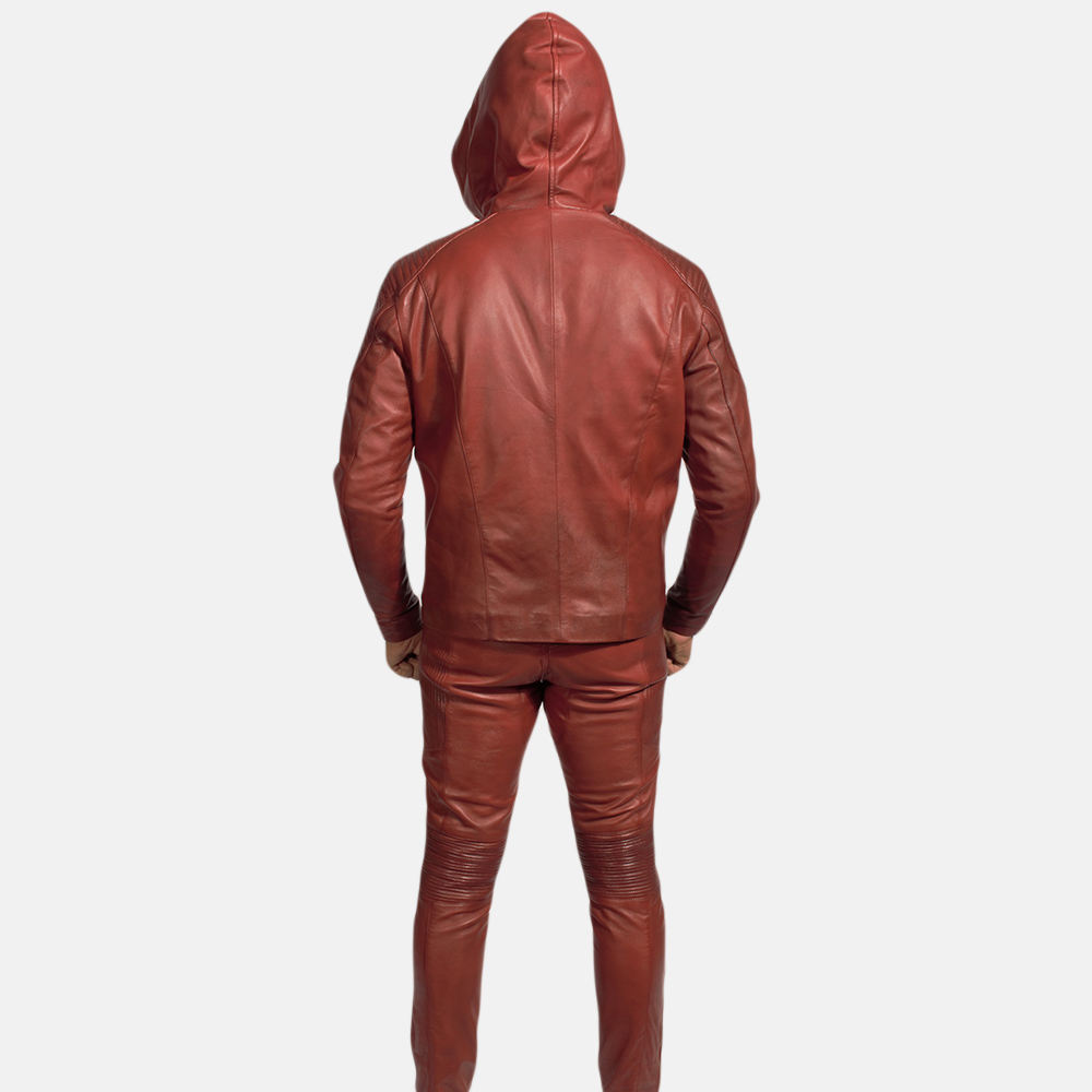 Mens Red Hooded Leather Costume 6