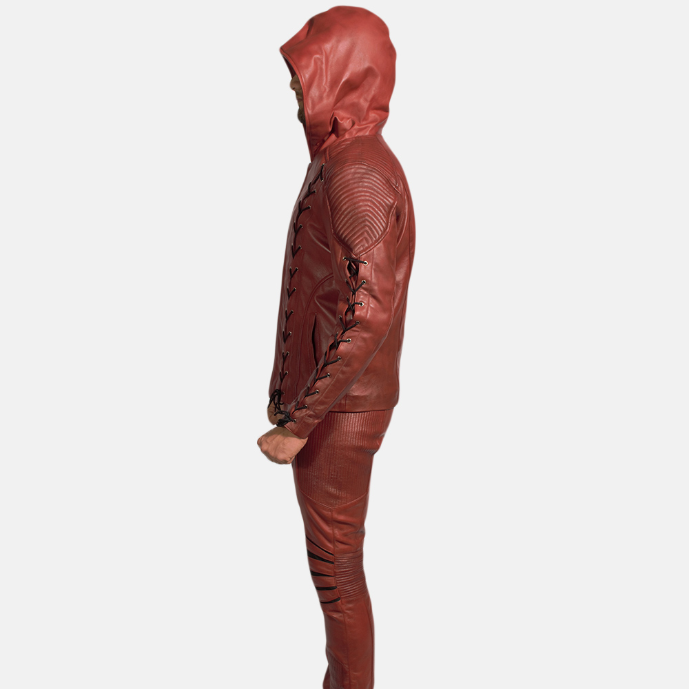 Mens Red Hooded Leather Costume 5