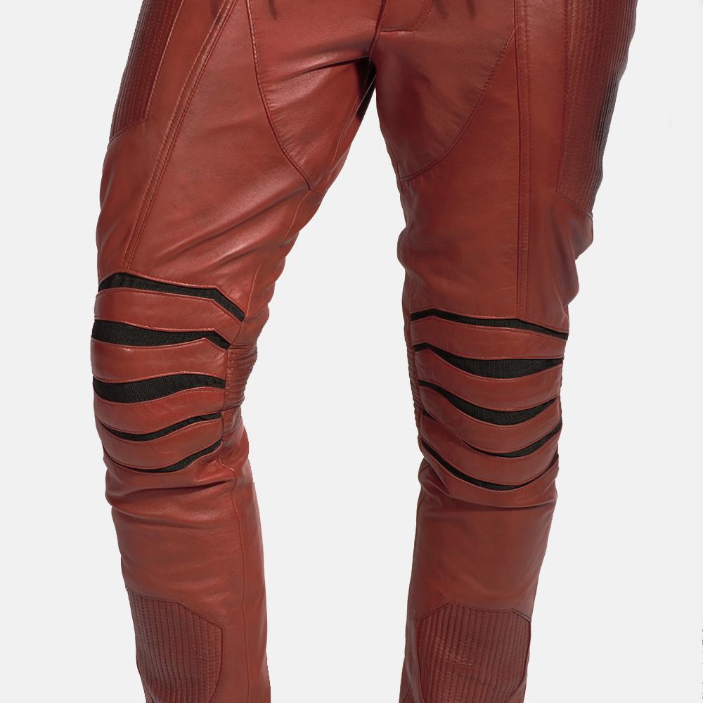 Mens Red Hooded Leather Costume 7