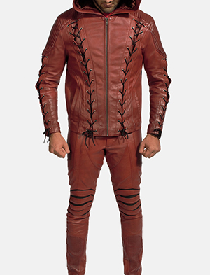 Mens Red Hooded Leather Costume 1
