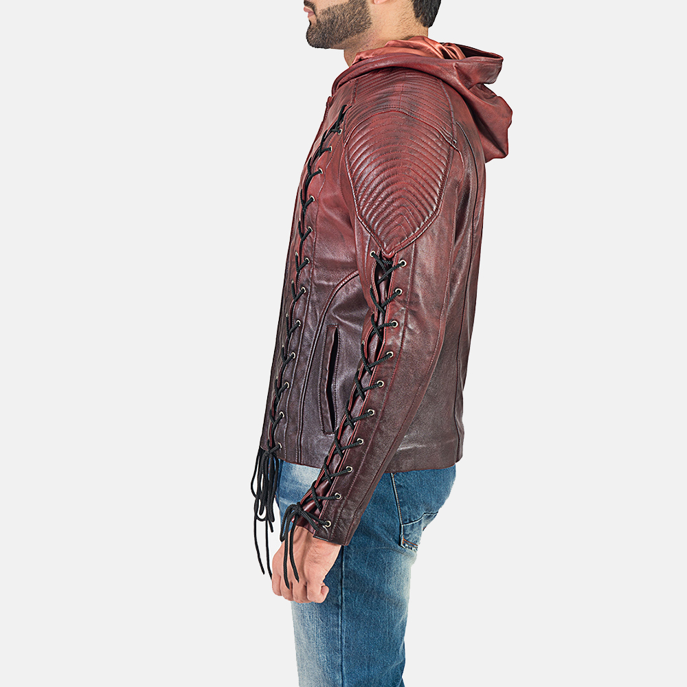 Mens Red Hooded Leather Jacket 6