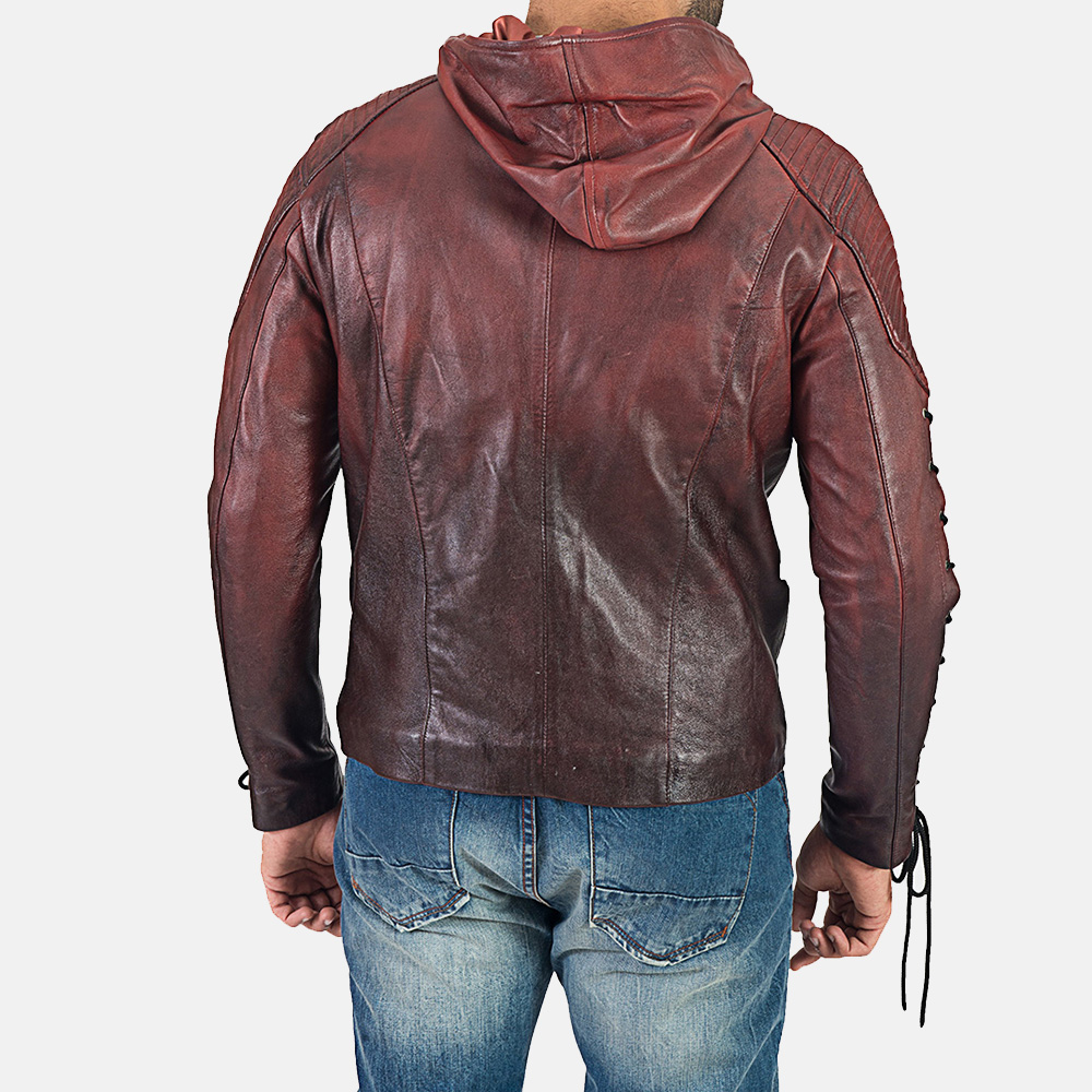 Mens Red Hooded Leather Jacket 7