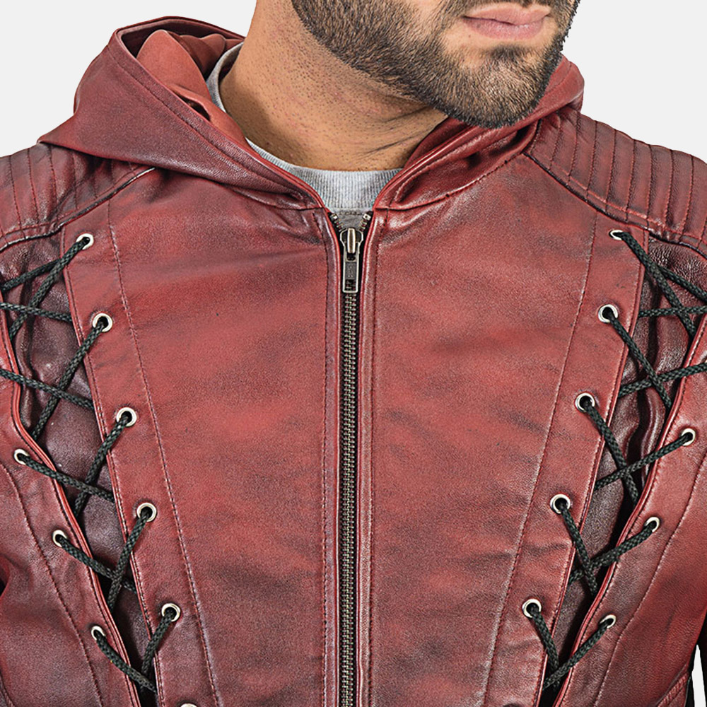 Mens Red Hooded Leather Jacket 5