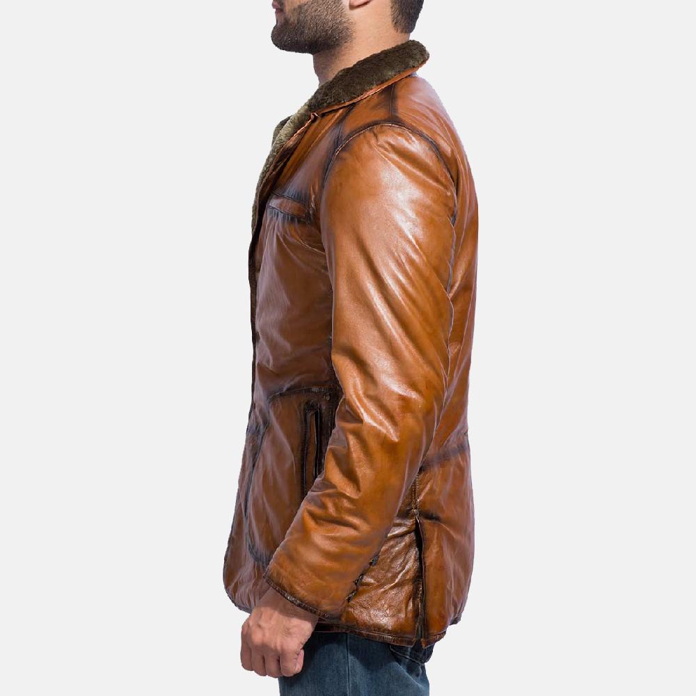 Mens Rocky Brown Fur Leather Coat 3