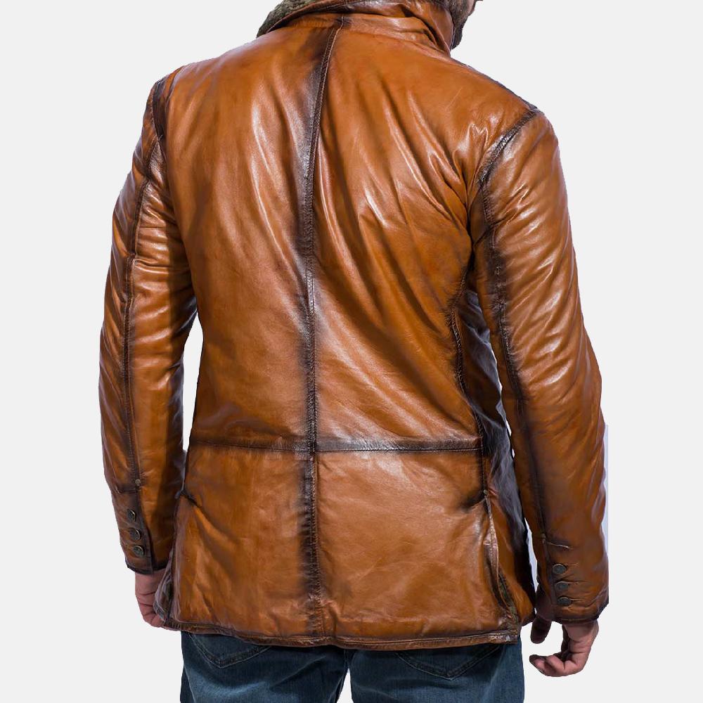 Mens Rocky Brown Fur Leather Coat 4
